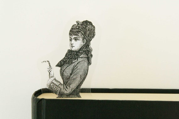 Lady with glasses bookmark, image from old Italian newspaper dated 1880
