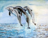 Dolphins jumping in ocean 'Painting'.