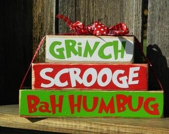 Christmas wood blocks-- Grinch Scrooge Bah humbug