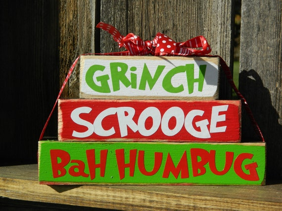 Christmas wood blocks grinch scrooge bah by buzzingbeescrafts for Bah humbug door decoration