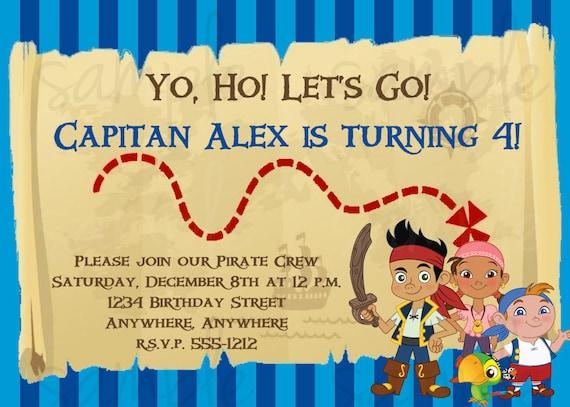 jake and the neverland pirates birthday invitation, Birthday invitations
