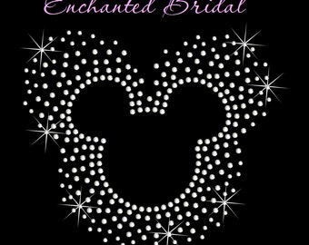 Disney Inspired Scatter Mickey Iron On Rhinestone Transfer DIY Bling