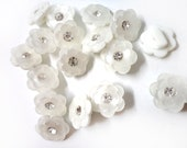 30Pcs White Floral Shape Buttons with Middle Rhinestone  and Pearl Color- Small Size - For Sewing, Fashion Crafts and Accessories - Bridal