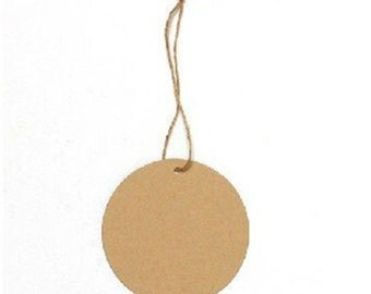 Round Brown Paper Hang Tag Price Blank Kraft Label with Strings - Pack of 20