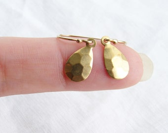 Hammered Drop Gold Earrings. Geometric Minimalist Earrings. Simple Modern Jewelry by PetitBlue