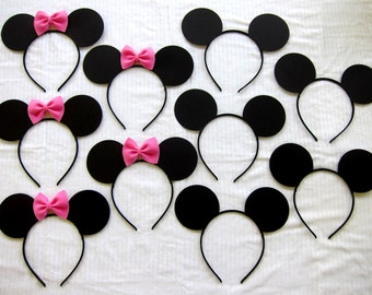 2.40 each HANDMADE 17 count half Mickey Mouse ears and half Minnie mouse ear headbands lot pink or red affordable