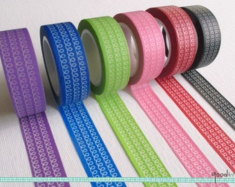 Purple / Blue / Lime / Pink / Red / Black Spiral Pattern Washi Tape / Masking Tape - 10m, 1 Roll, Your Choice of Color