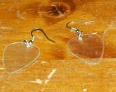 Clear Guitar Pick Earrings