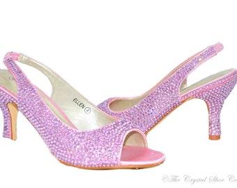 Swarovski crystal Baby pink low heel peeptoe slingback sandal heel shoes