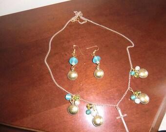Necklace & Earrings, handmade,
