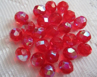 25  Christmas Ruby Red AB Round Faceted Czech Glass Beads  9mm