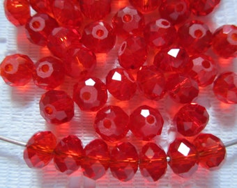 24  Christmas Ruby Red Faceted Rondelle Crystal Beads   8mm x 6mm