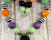 Halloween 2 with Orange, Green, Purple, Black and White Chunky Beaded Bubblegum Necklace