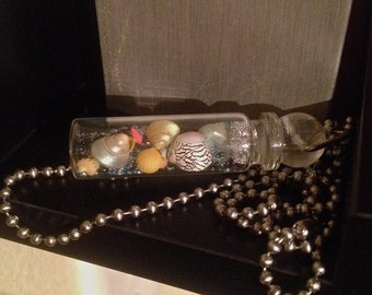 Fancy Shell-Filled Glass Vial Pendant 8
