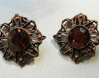 Vintage earrings smoky topaz glass, mid century 1950s metal vintage clip on earrings