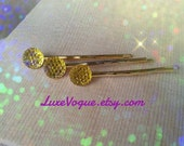 Limited Edition Bobby Pin Sparkle Series - Yellow Sparkle Circles
