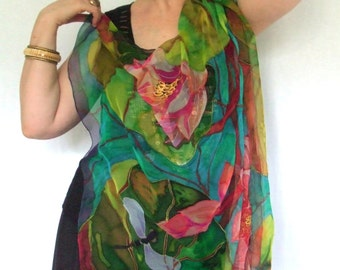 """Silk Square Scarf """"LOTUS 1"""" Hand painted Exclusive Art to wear One of a kind Gift for her Silk 100%"""
