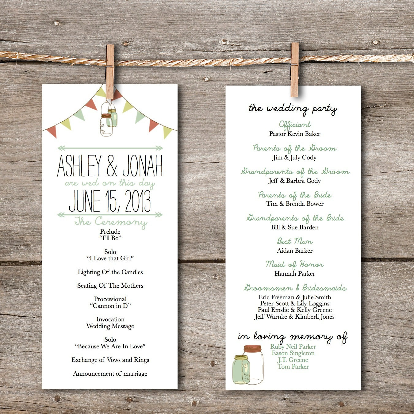 Https Www Etsy Com Listing 114498762 Printable Wedding Program Rustic Vintage