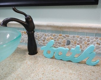 "SALE - Hand cut ""Bath"" Wooden word lightly distressed shabby chic Beach"