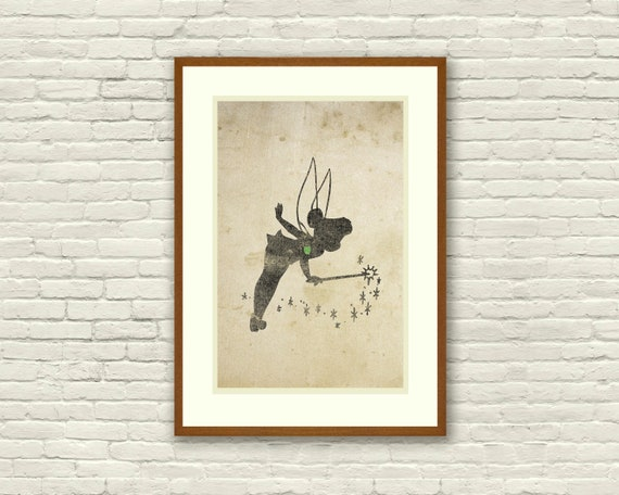 Tinkerbell Inspired Silhouette 11x17 Art Print With Heart