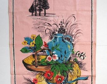 Vintage Linen Tea Towel - Pink Flower Print Made in Ireland - Garden Still Life - Pink Kitchen Decor - Mid Century Decor - Floral Wall Decor