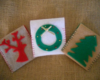 Set of 3 Christmas Giftcard Holders, Money Envelopes