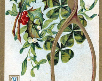 """Antique 1911 Christmas Postcard """"A Merry Christmas and A Happy New Year"""""""