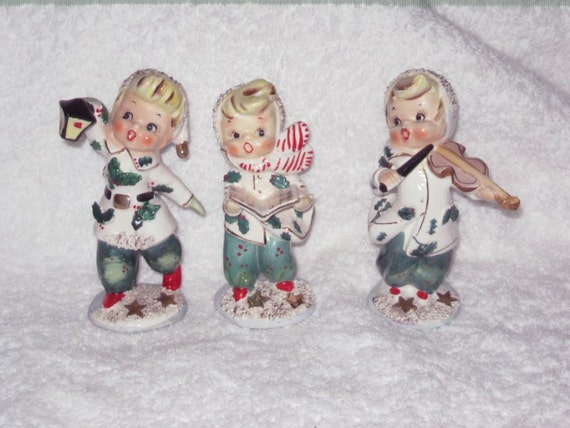 lefton vintage christmas girl carolers trio by brilbunnyselections