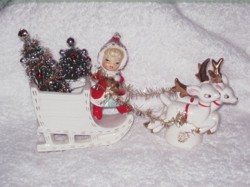 Vintage Lefton Napco Christmas Girl In Planter Sleigh Reindeer