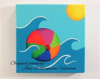 Beach Ball Original Canvas Art - Painted by Jody Williamson-Valentine