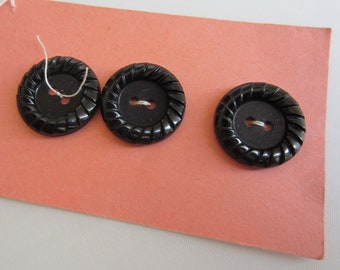 Three Cute Black Vintage Buttons