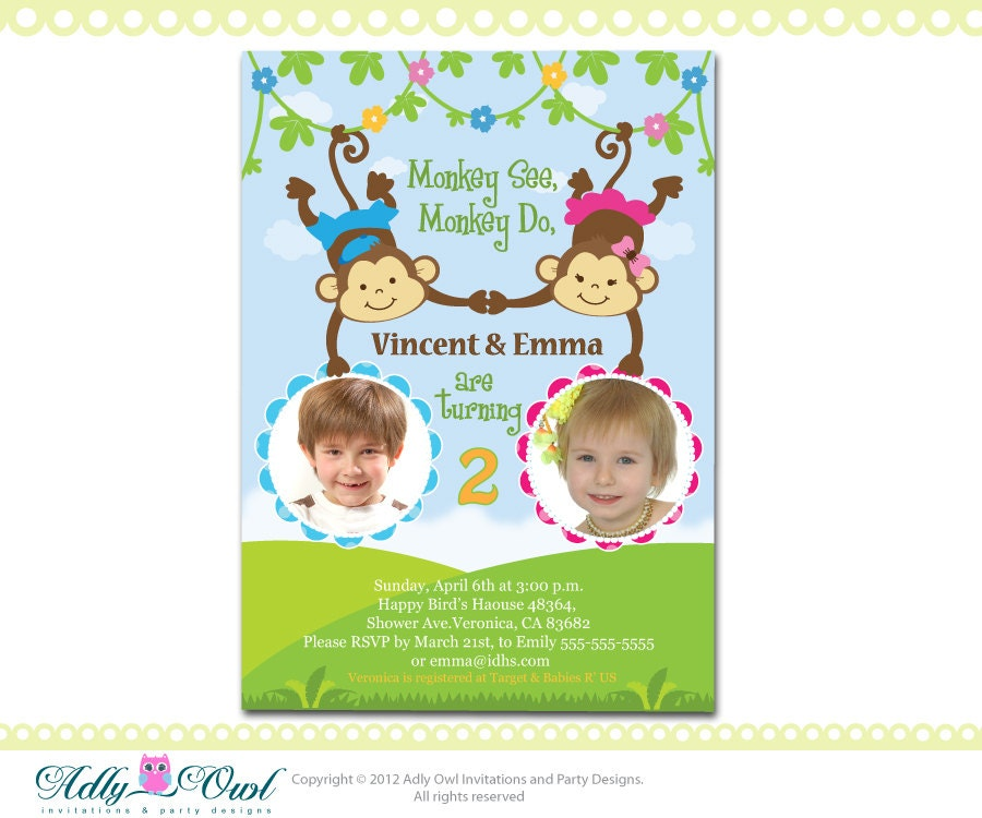 personalized twin invite second birthday invitation card for, Birthday invitations