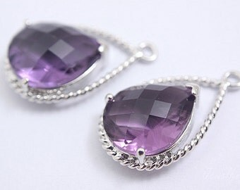 S123- 20PCS - Rhodium Plated -Amethyst -Glass
