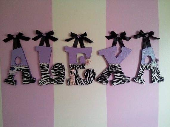 Items similar to wooden letters for baby or kids room for Room decor zebra print