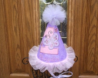 Girls Birthday Party Hat - Birthday Hat - Butterfly  Theme  - Free Personalization