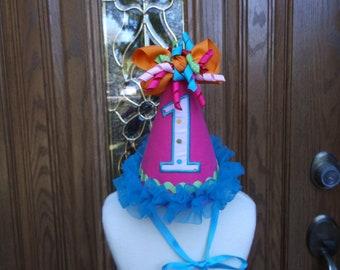 Girls First Birthday Party Hat - 1st Birthday Hat - Birthday Party Hat  - Free Personalization