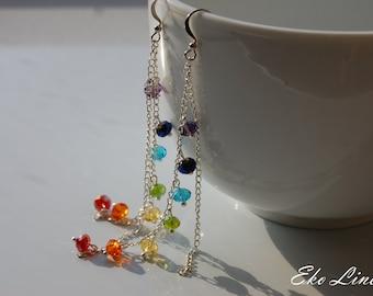 HARMONY - Chakra Earrings. 7 Chakra - Reiki - Yoga. Dangle Crystal Earrings.  Rainbow Goddess Chakra Earrings.