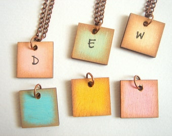 Personalized Hand painted  Geometric Necklace, wood Initials Necklace,