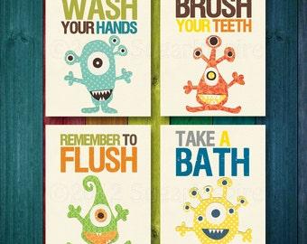 Set Of Four 8x10 Prints   Bathroom Nursery Print Set, Kids Bathroom Decor,  Wash Part 85