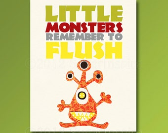 Bathroom Nursery Art Print,  Baby / Children Wall Art -Bathroom decor, Monsters, orange, kids bathroom, flush