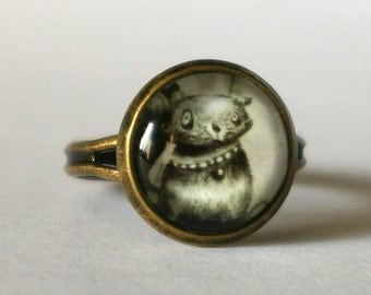 """Antique brass plated ring """"Cat portrait Leopold"""""""