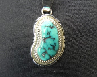 Vintage Pendant Native American  Indian Bezel Set   Turquoise  Hallmarked Sterling  and J.J.