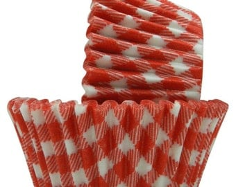 Cup cake liner Red Gingham check Picnics Cupcake Muffin cups Liners Country rustic theme picnic party bbq bed breakfast 50 ct