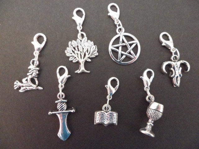 7 clip on wiccan bracelet charms pentacle athame chalice