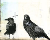 Composition No.8 - 12x12 giclee print: graphite drawing and digital illustration on Crows