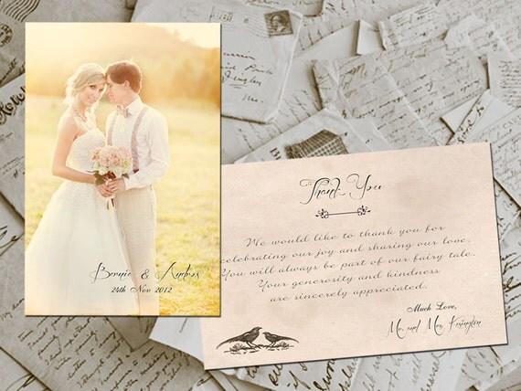"Wedding Thank You Cards - Lyon Vintage Photo Personalized 4""x6"""