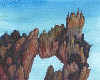 Castle on Rocks, original drawing, watercolor, pencil artwork