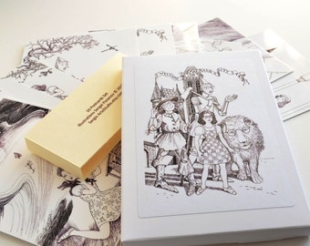 Wizard of Oz Gift Set, Story Cards, black and white drawings, Postcards Set