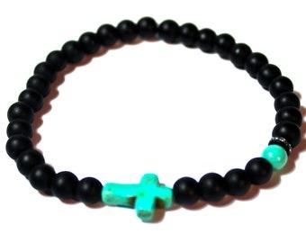 Yoga Bracelet - turquoise Sideways cross - Sideways Cross Bracelet, Mala Beads Bracelet, Boho Spiritual Jewelry, Zen Jewelry