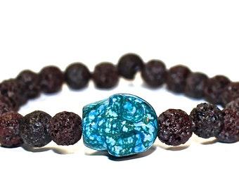 Mens Skull Bracelet - Brown Lava Bracelet, Skull with Brownk Beads, Rockstar Brown Beaded Bracelet, Cool Mens Gift
